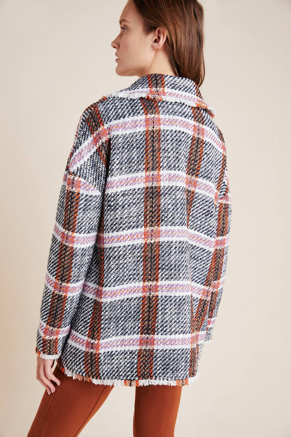 Carrie Double Breasted Plaid Tweed Coat