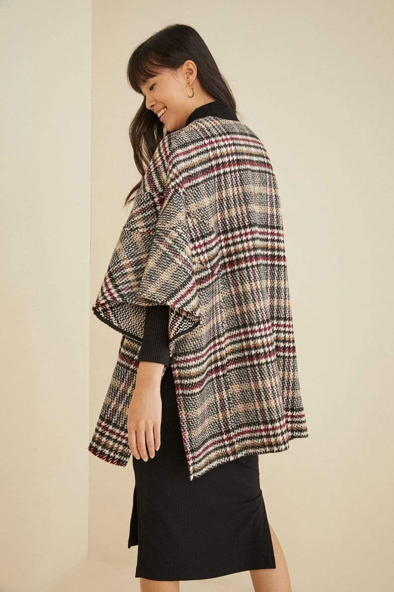 Eva Franco Coat Elaine Cape - Tan Red Plaid