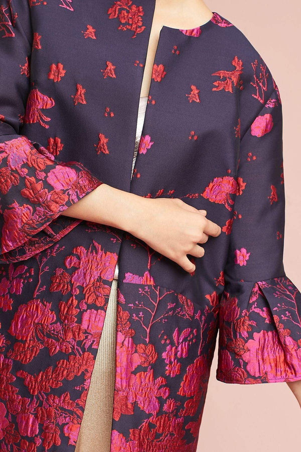 Eva Franco Coat Floral Flutter Sleeve Coat