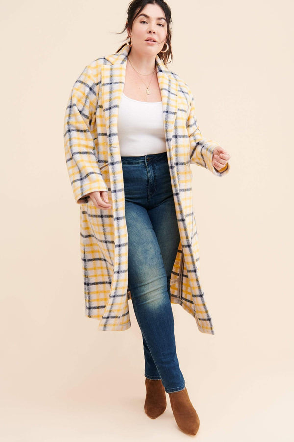 Eva Franco Coat Longline Plaid Coat