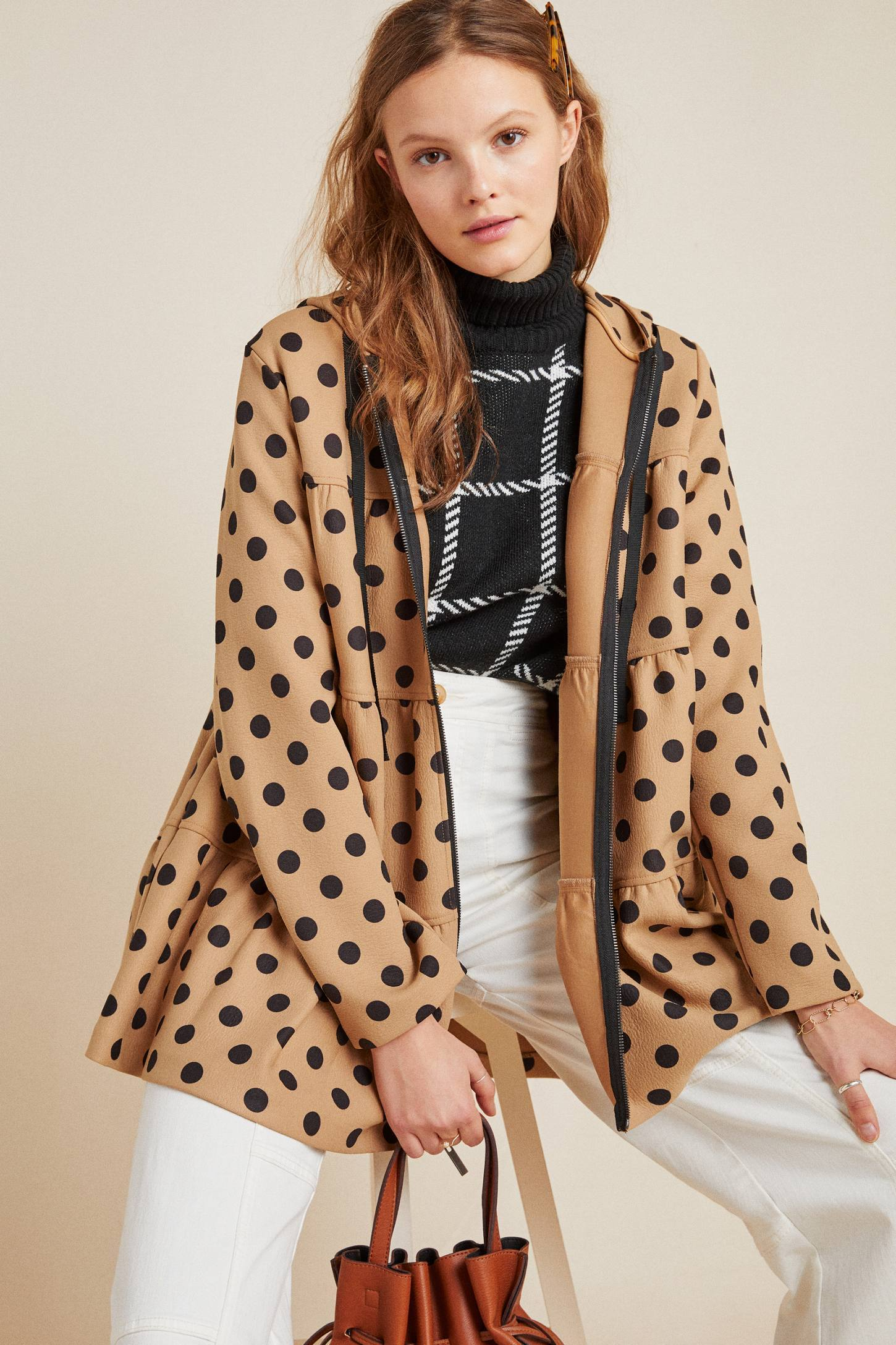 Eva Franco Coat Maybelle Polka Dot Tiered Coat