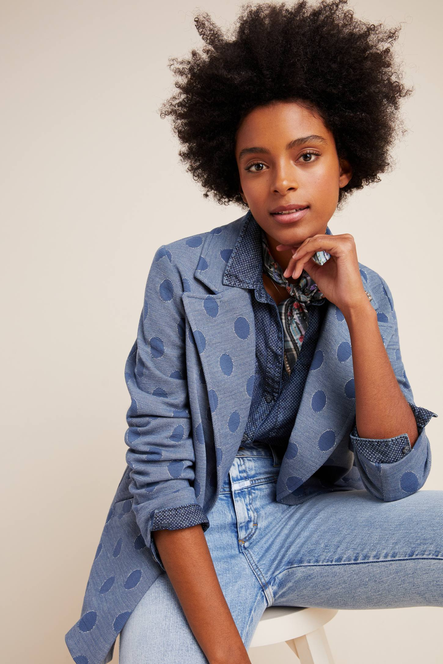 Eva Franco Coat Priscilla Denim Polka Dot Blazer