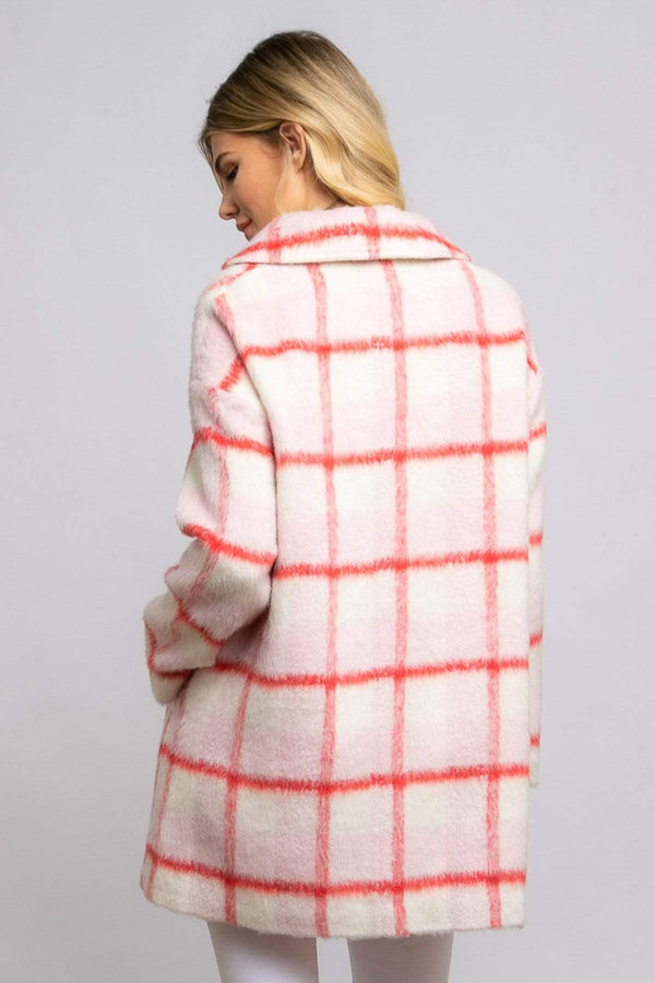 Strawberry Plaid Coat - Eva Franco