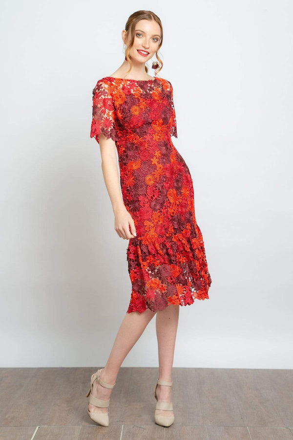Eva Franco Dress Brigitte Embroidered Midi Dress