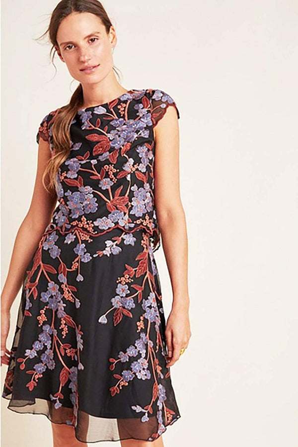 Eva Franco Dress Chiffon Bloom Mini Dress