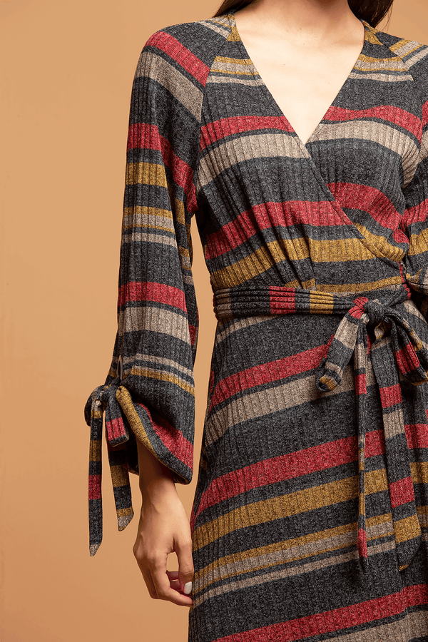 Chloe Wrap Dress - Knit Stripe - Eva Franco