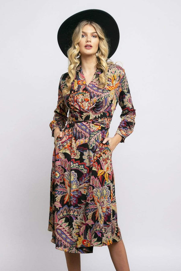 Dena Front Wrap Dress in Damascus Printed Ponte