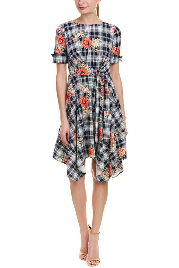 Ezra Dress - Red/Navy Plaid - Eva Franco