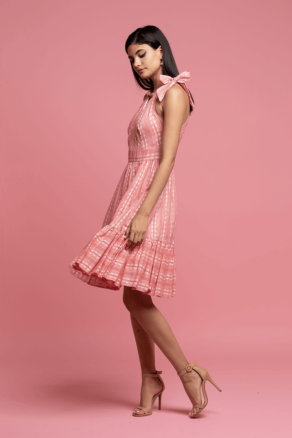 Halter Dress - Pink&White - Eva Franco