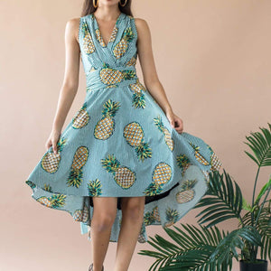 Lucia V-Neck Circle Skirt Dress With Pockets - Pineapple Plantation