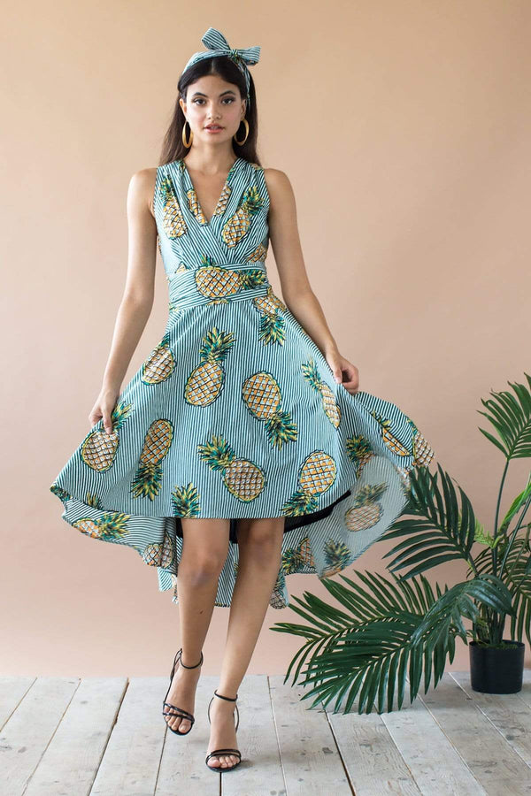 Lucia V-Neck Circle Skirt Dress With Pockets - Pineapple Plantation - Eva Franco