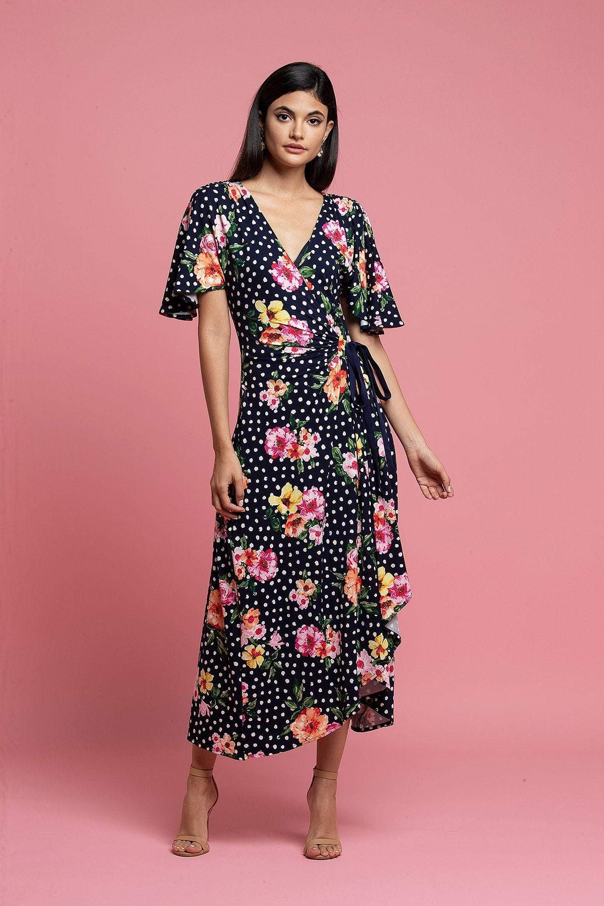 Eva Franco Dress Marika Wrap Dress - Navy Dot Floral
