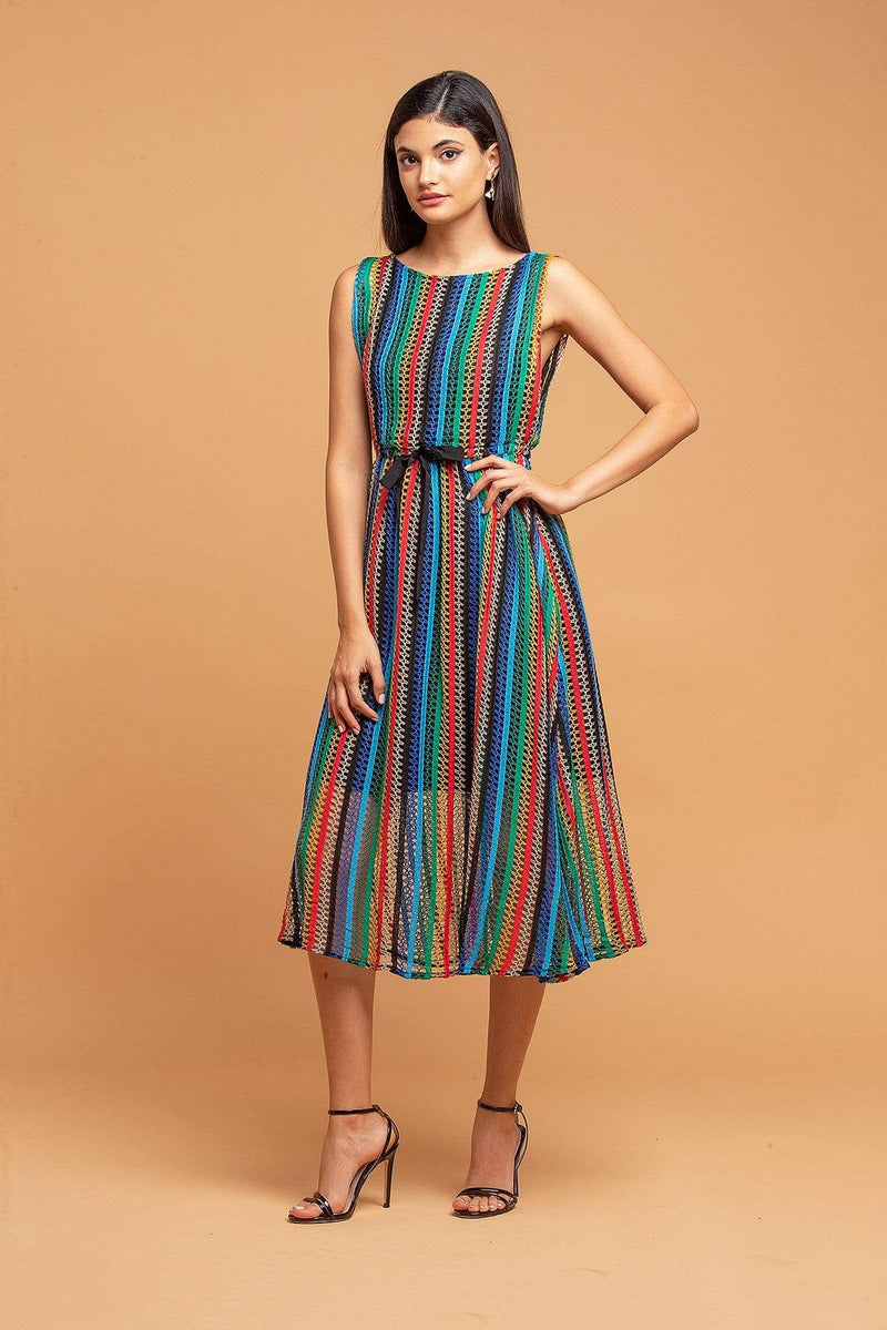 Eva Franco Dress Sage Dress - Multicolored Crochet Dress