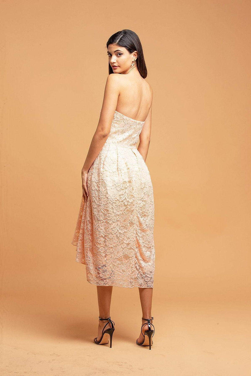 Strapless Lace Apricot Dress - Eva Franco