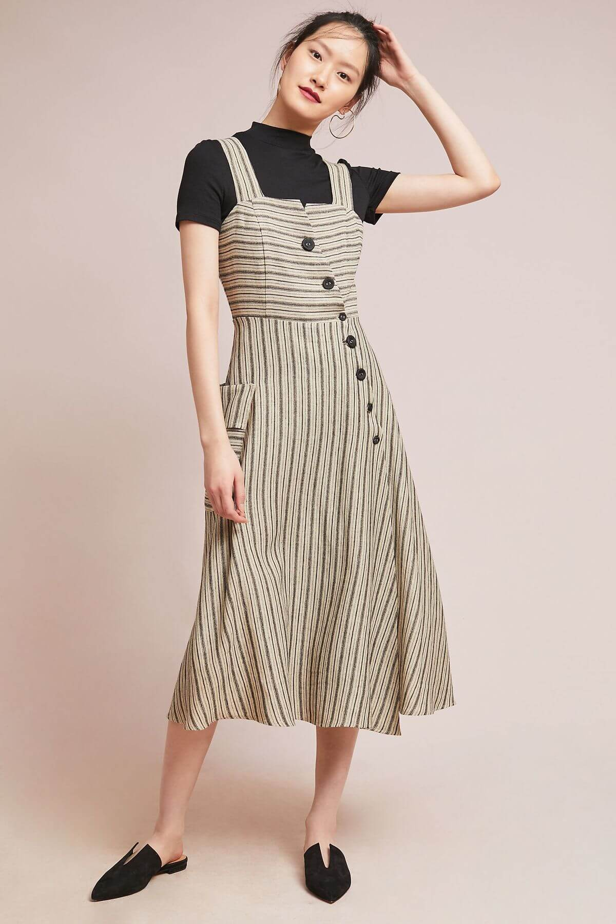 Eva Franco Dress Striped Utility Midi Dress