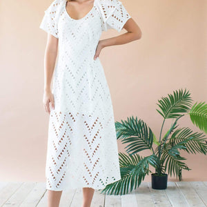 Sue Ellen Lantern Sleeve Midi Dress - White Nights Geo Cutwork Lace