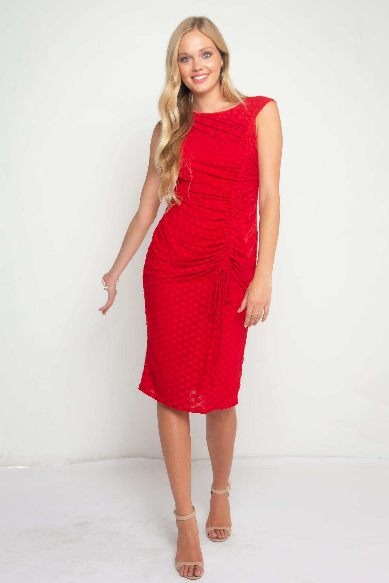 Eva Franco Dress Urchin Cinched Midi Dress – Red