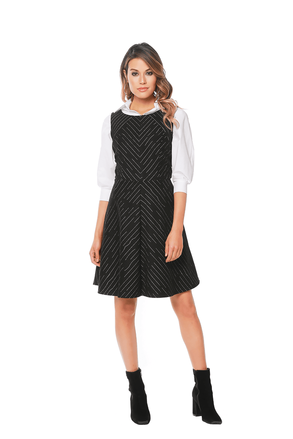 Warby Dress - Variegated B&W Stripes - Eva Franco