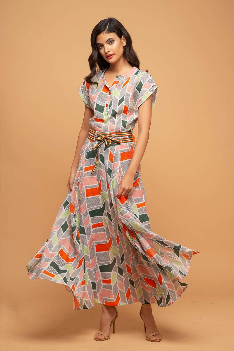 Eva Franco Dress Xoxo Dress - Peach Geo