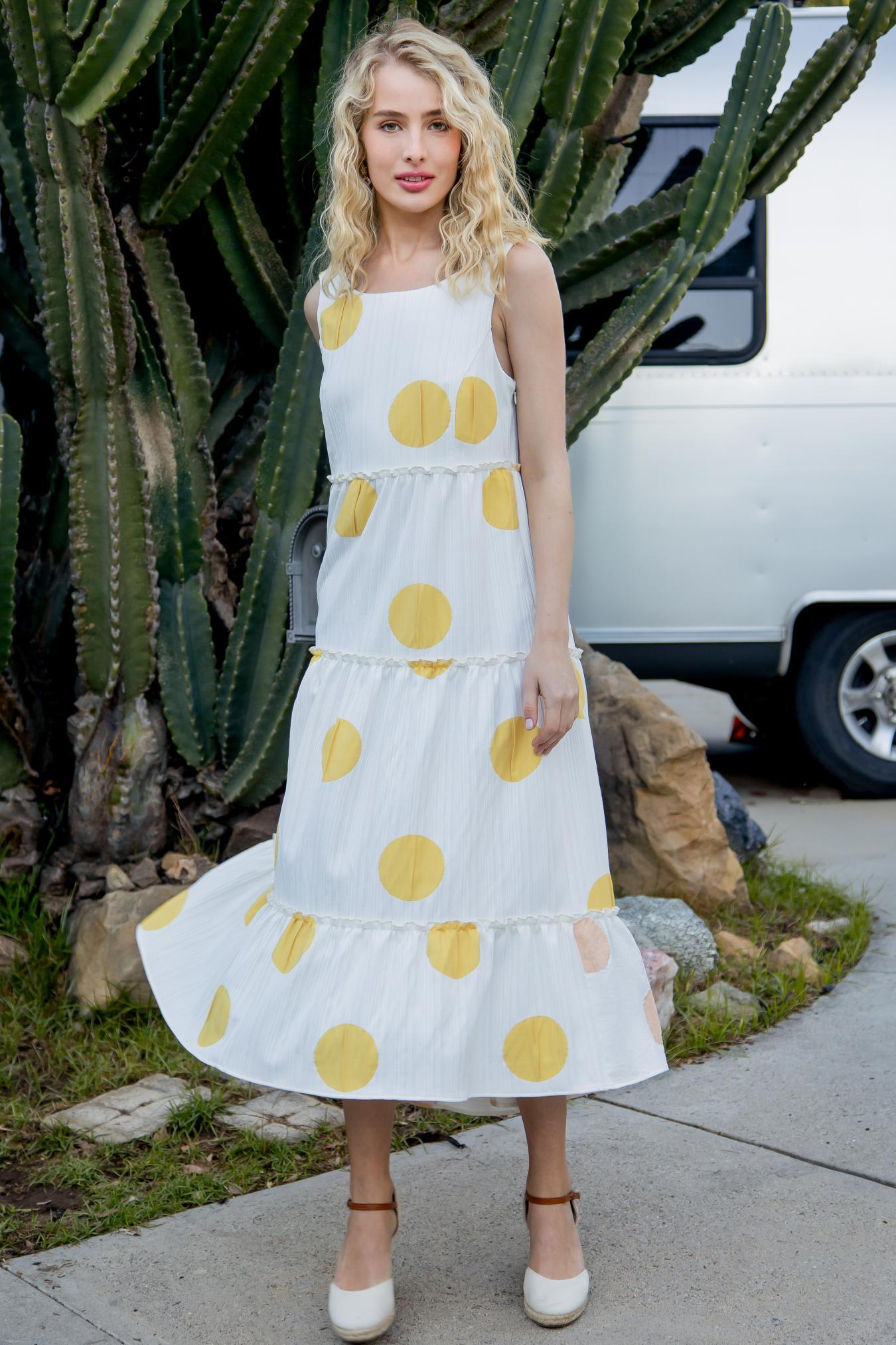 Eva Franco Dress Yellow Polka Dot Maxi Dress PRE-ORDER
