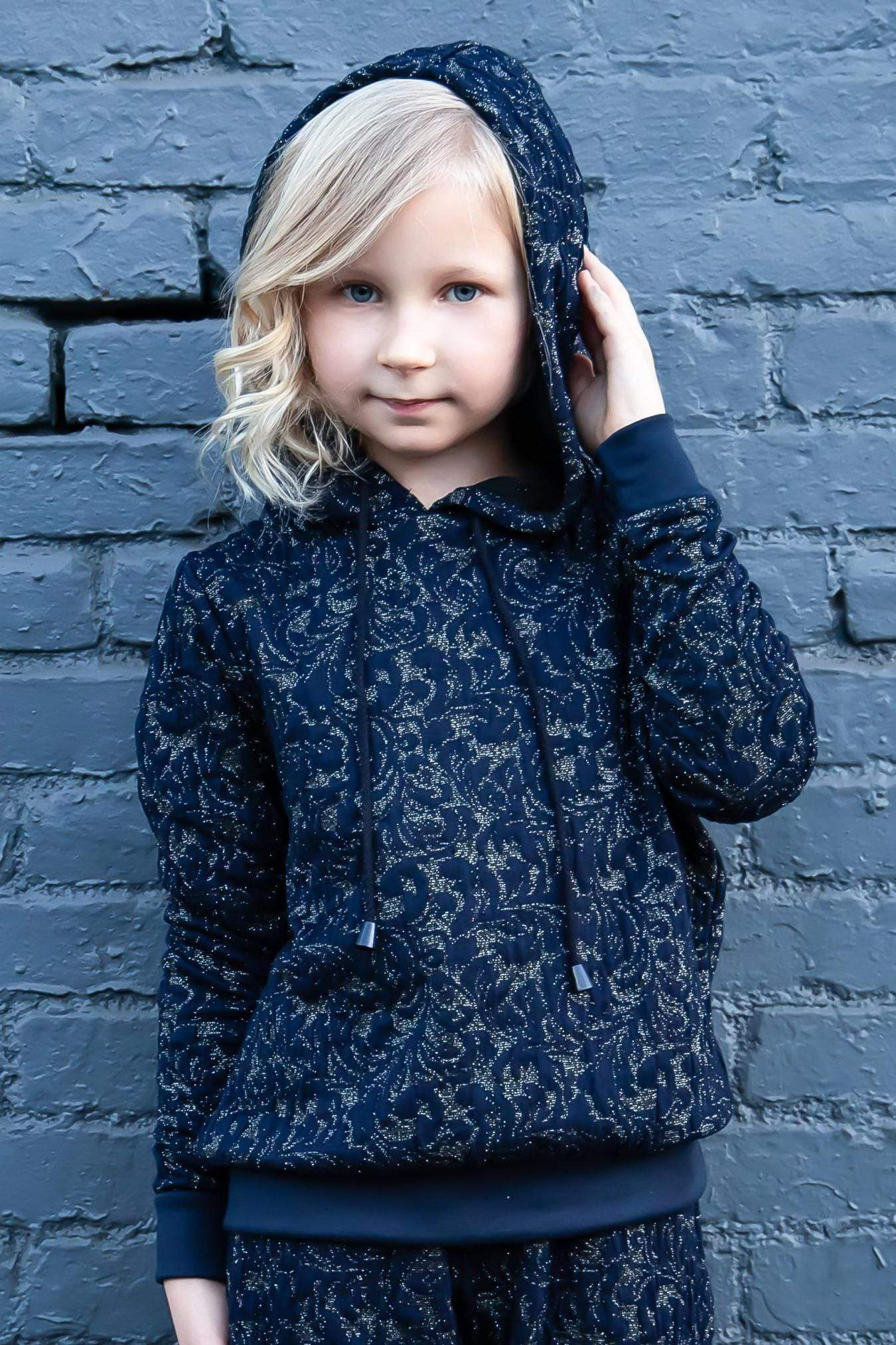 Eva Franco Girls Mini Noah Hoodie - Navy Knit - Girls