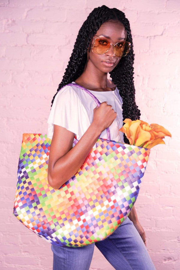 Basket Weave Multi-Color Tote Bag - Eva Franco