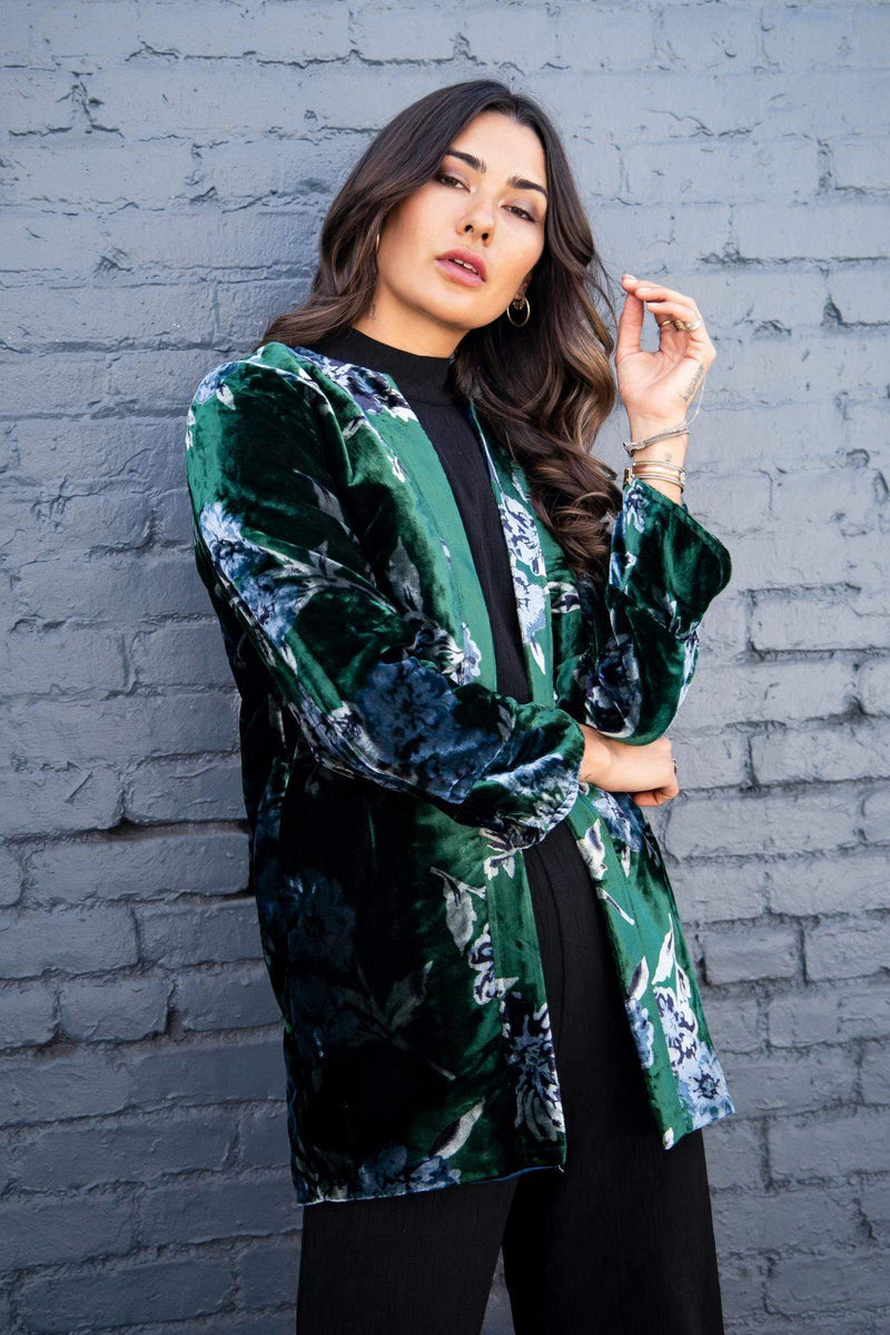 Eva Franco Jacket Green Velvet Bloom Car Coat