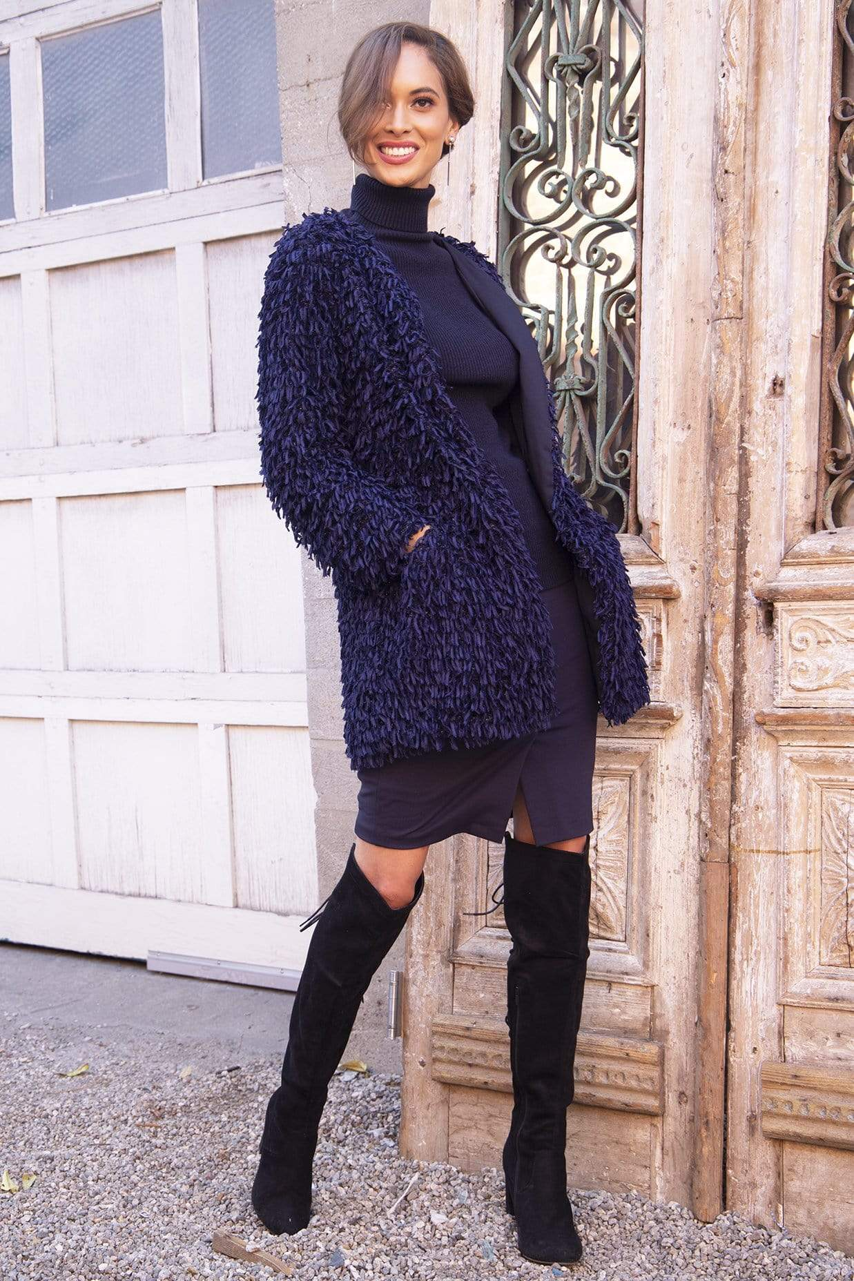 Eva Franco Coat Veronica Sweater Car  Coat in Navy Fuzzy Wuzy  Yarns