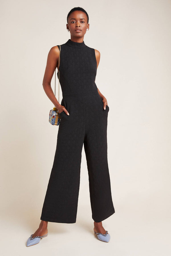 Charley Black  Mock Neck Jumpsuit Petites and Plus Sizes