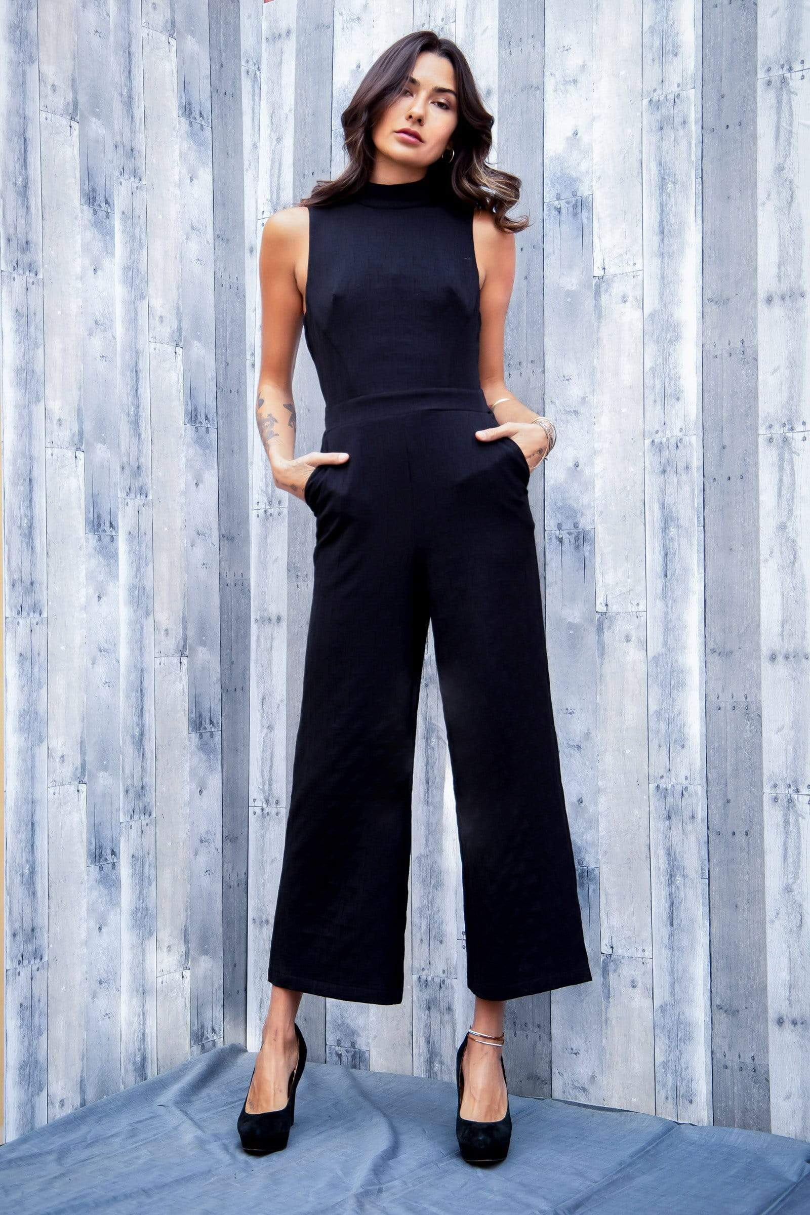 Eva Franco Jumpsuit Jumper Charley Black  Mock Neck Jumpsuit Petites and Plus Sizes