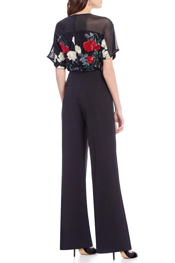 Eva Franco Jumpsuit Jumper Embroidered Floral Blouson Jumpsuit