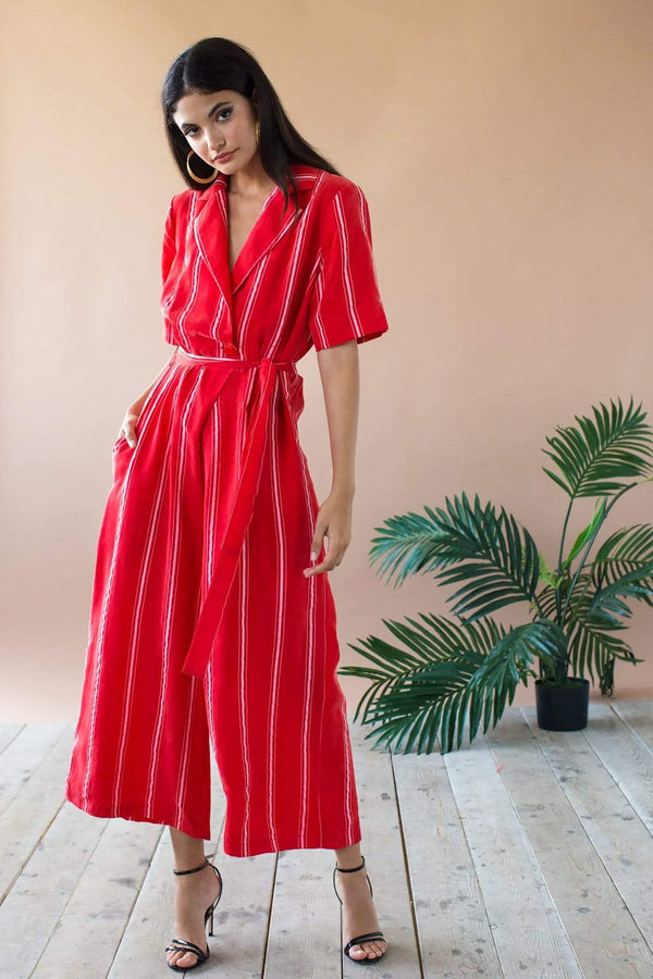 Rosie Jumpsuit - Red Candy Stripe - Eva Franco