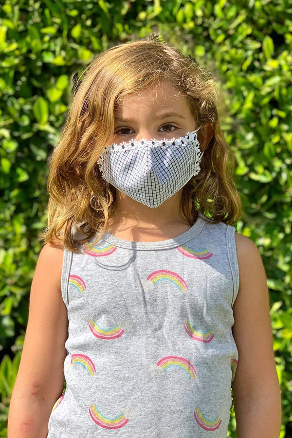 Black and White Check with 3D Flowers Kids Mask - Eva Franco