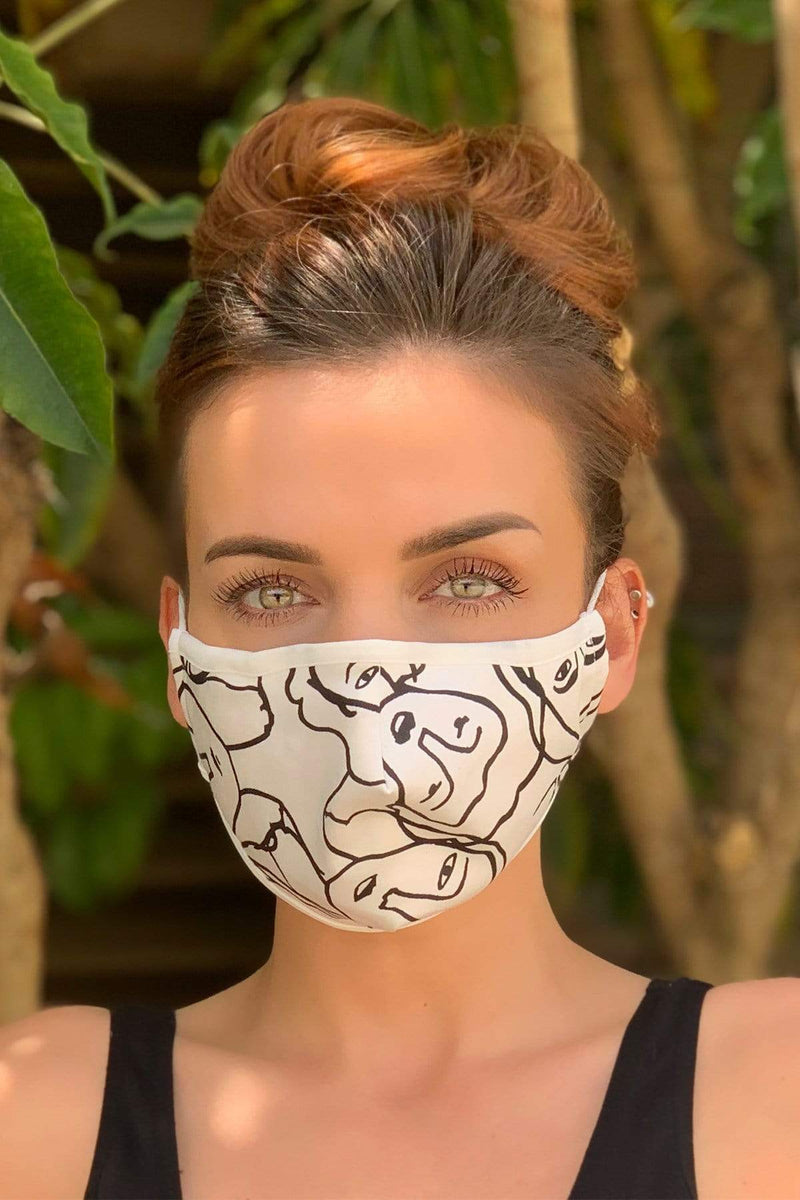 Black and White Faces Adult Mask - Eva Franco