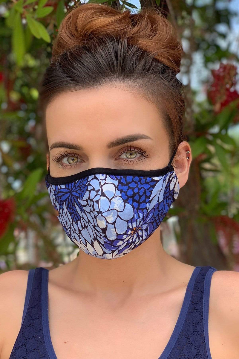 Blue Belle Floral Adult Mask - Eva Franco