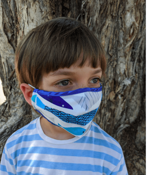 Blue Fish Cotton Kids Mask - Eva Franco