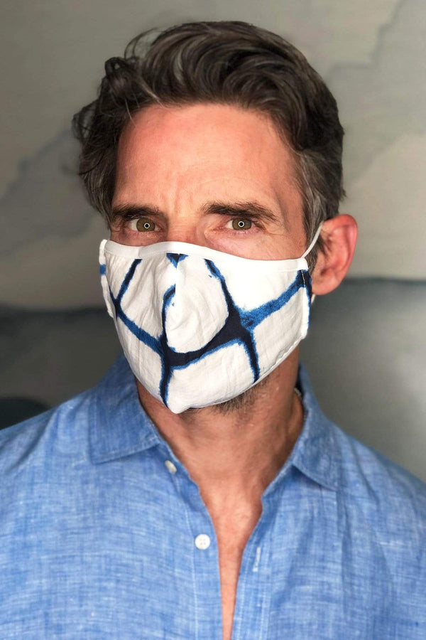 Blue & White Tie Dye Mens Adult Mask w/ Nose Wire - Eva Franco
