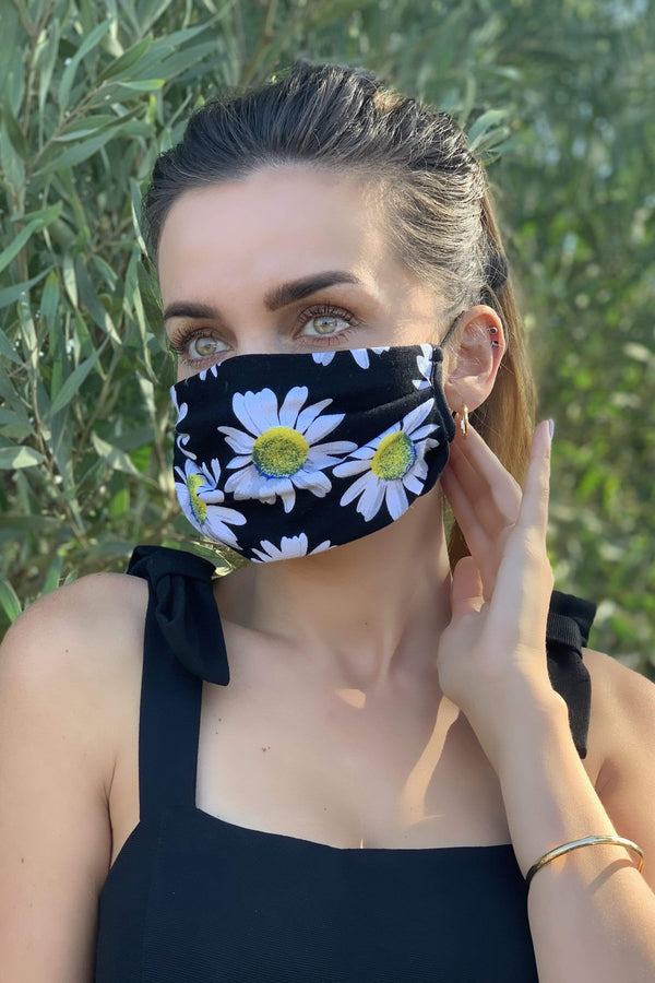 Daisy Floral Jersey Adult Mask