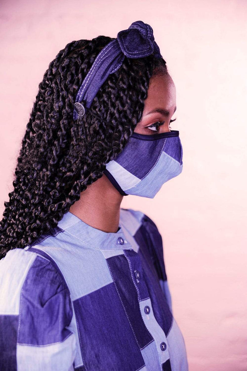 Denim Patchwork Mask with Matching Headband - Eva Franco