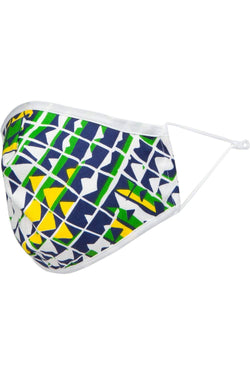 Green, Navy & Yellow Geo Adult Mask w/ Nose Wire - Eva Franco