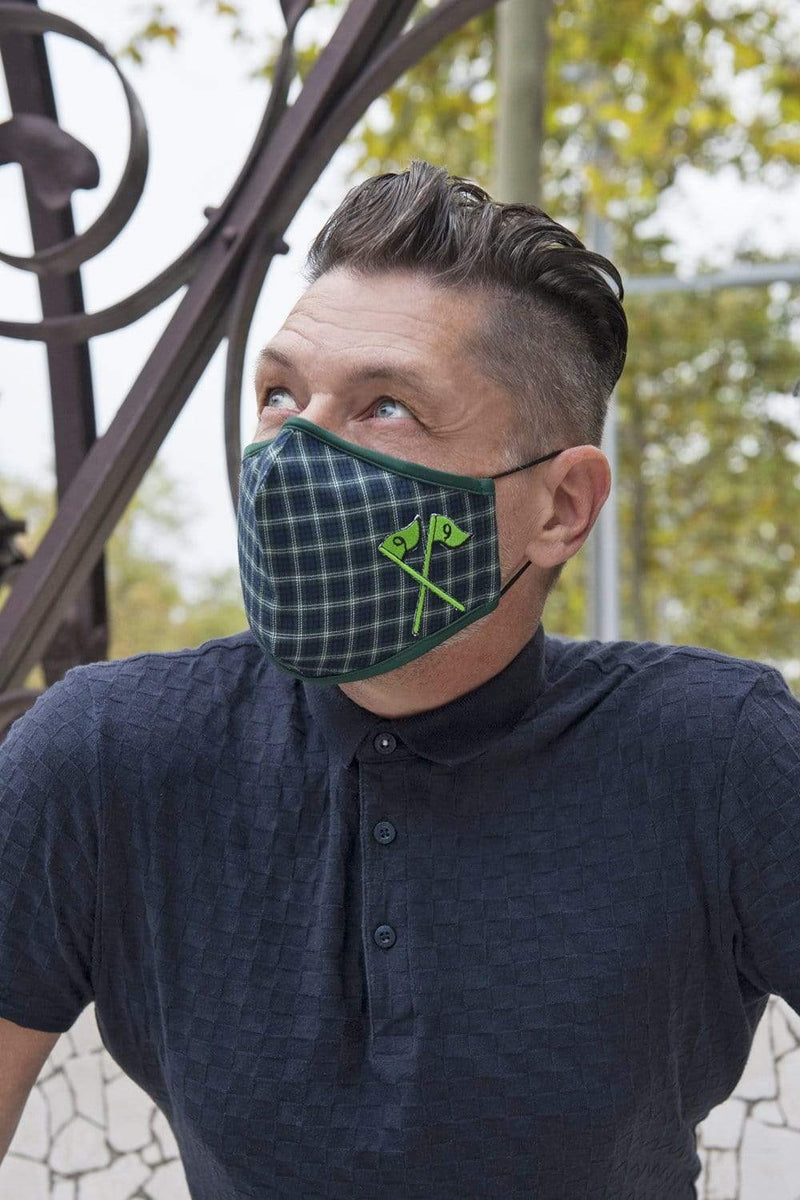 Green Plaid Golf Adult Mask w/ Nose Wire
