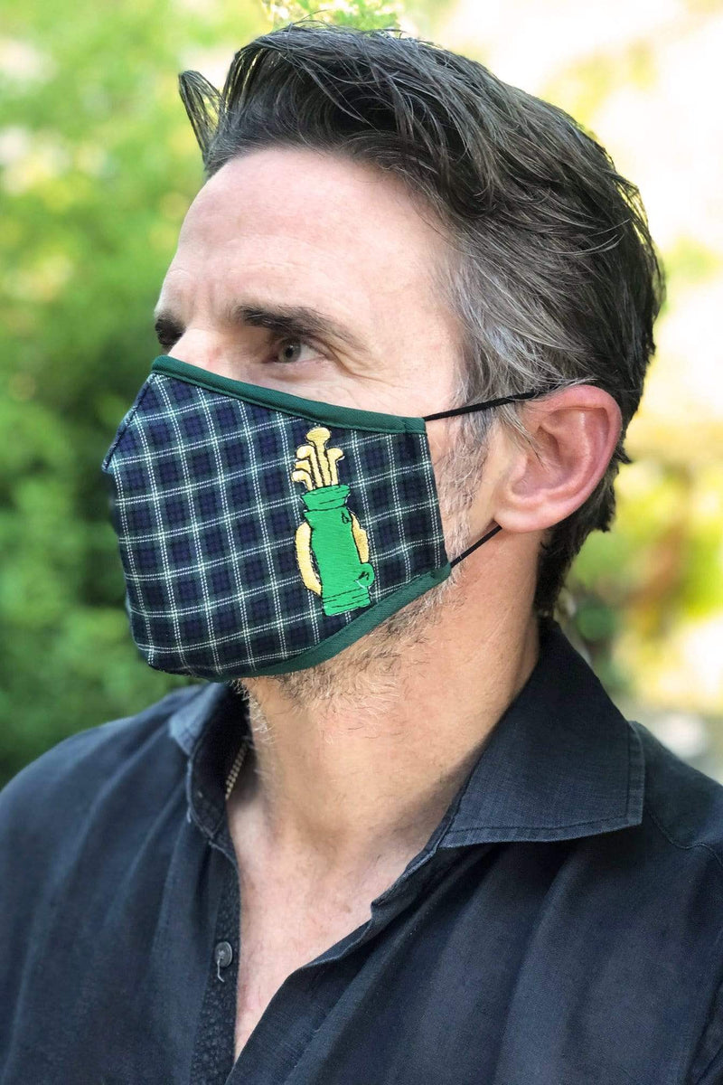 Green Plaid Golf Clubs Adult Mask w/ Nose Wire - Eva Franco