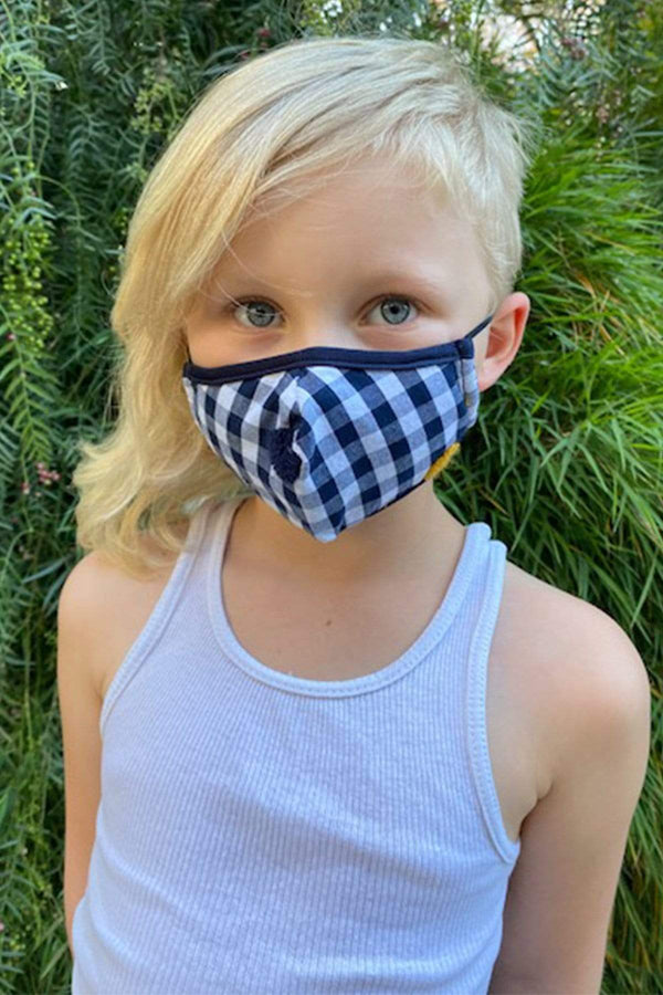 Navy and White Gingham Kids Mask - Eva Franco