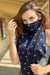 Eva Franco Mask Navy Floral Berries Scarf Mask
