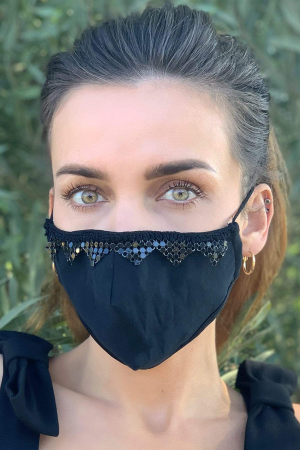 Eva Franco Mask Sequin Solid Black Adult Mask