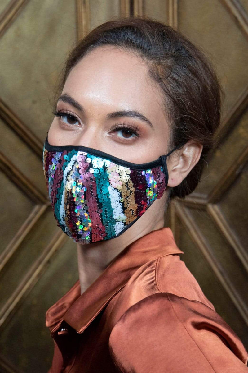 Stripe Sequins Adult Mask