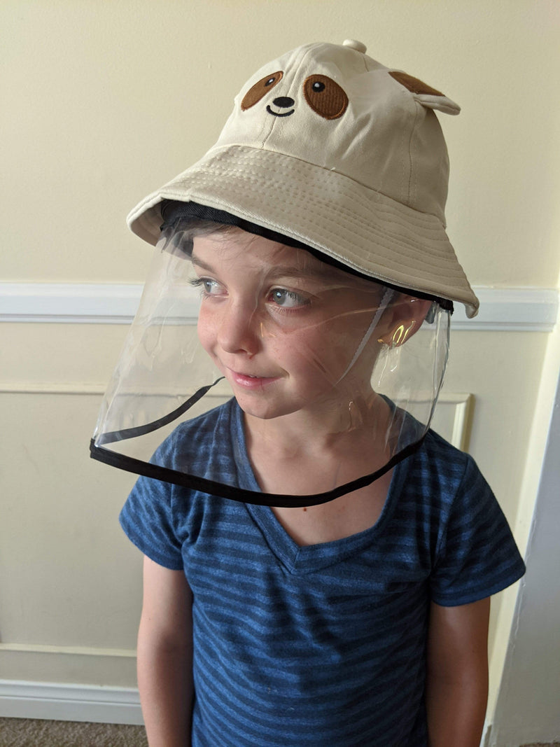 Taupe Bear Kids Hat W/ Detachable Face Shield - Eva Franco