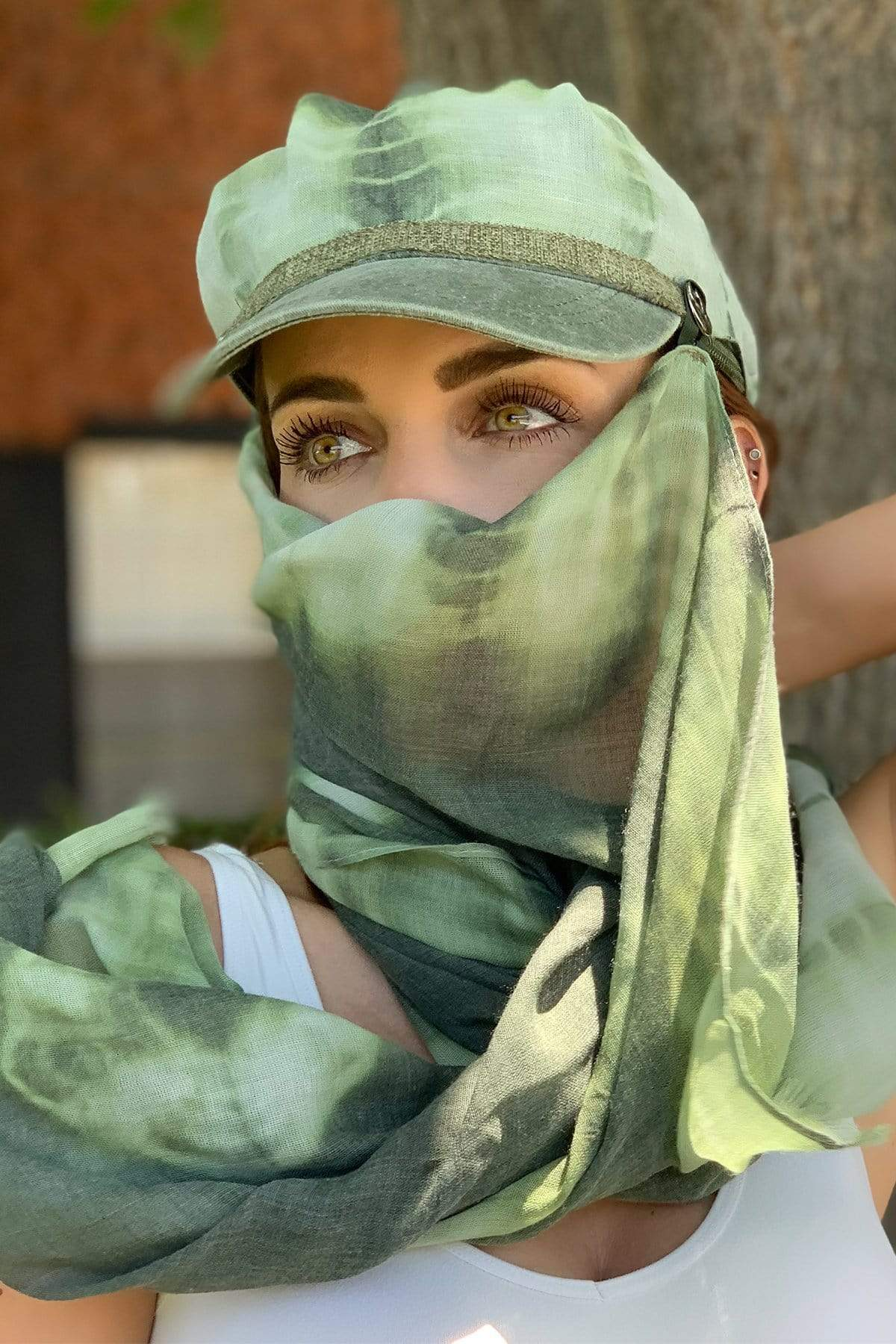 Eva Franco Mask Tie Dye Army Green Hat and Scarf Set
