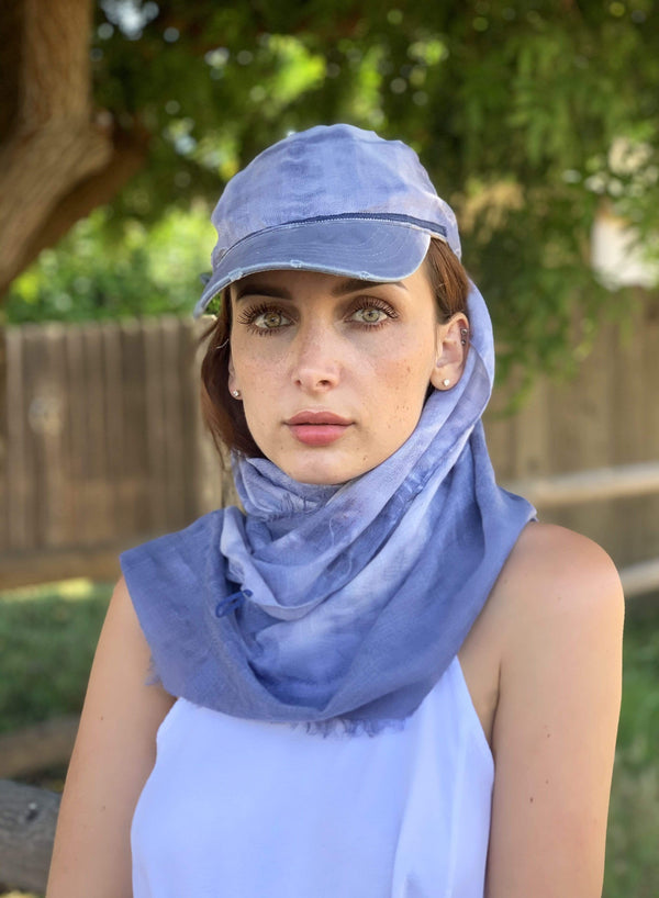 Tie Dye Blue Hat and Scarf Set - Eva Franco