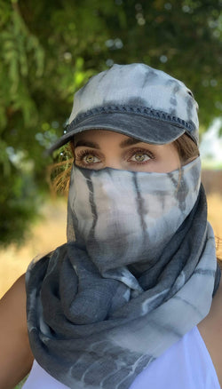 Eva Franco Mask Tie Dye Slate Hat And Scarf Set